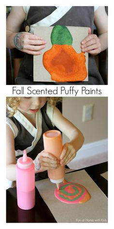 The fabulous scents of Fall will fill your house as you create puffy art with our Fall Scented Microwave Puffy Paints!  Yum!!!  From Fun at Home with Kids