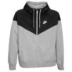 Nike Full Zip Hoody w/ Overlay - Men's - Sport Inspired - Clothing - Dark Heather Grey