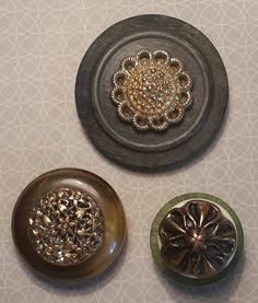 Handmade Magnetic Vintage Buttons - Set of 3