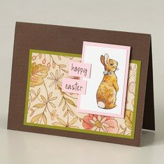 """Vintage Easter Bunny Card An illustrated rabbit, floral decorative paper, and defined lines help this card make quite the impression. Write """"happy Easter"""" and use a pinch of pink to outline the image to give the card a nice spring look."""