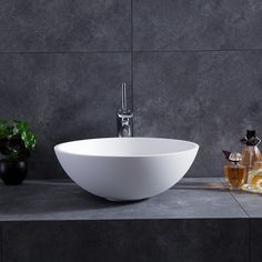 Modern Round Bowl Shape Bathroom Vessel Sink in Glossy White with Popup Drain Bathroom Sink Bowls, Bathroom Faucets, Bathroom Cabinets, Bowl Sink Vanity, Concrete Bathroom, Bathroom Mirrors, Bath Vanities, Modern Bathroom, Small Bathroom