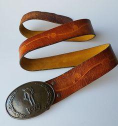 Vintage Levis belt buckle brown tooled Latigo leather belt broken in size L  #LeviStrauss