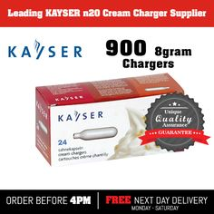 900 Nitrous Oxide, nos, noz, n2o Kayser 8g cream chargers £234.50