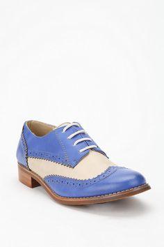 Blue Wingtip Oxford Shoes