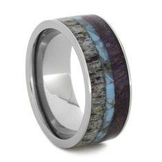 Turquoise Ring Between Purple Wood and Deer Antler in Titanium.