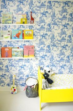 Oscar's Bright, Bold Abode — Kids Room Tour with yellow bed and blue toile wallpaper #bookledge