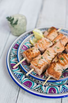 Light salmon kabobs with dill clarified butter