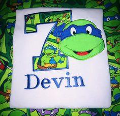 Ninja Turtle Birthday Shirt TMNT Applique Boy Teenage Mutant