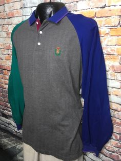 9bdc364946a Vtg Chaps Ralph Lauren Mens Long Sleeve Color Block Polo Shirt Mens XL