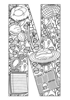 Beautiful alphabet coloring pages
