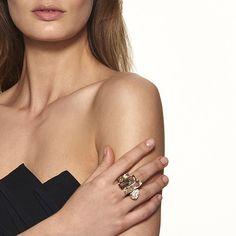 Nile Cocktail Ring, gold plating  | Atelier Swarovski