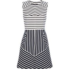 10 CROSBY BY DEREK LAM 'Sea' striped dress ($335) ❤ liked on Polyvore featuring dresses, vestidos, day dress, slimming dresses, blue white striped dress, striped cotton dress, pencil dresses and striped dresses