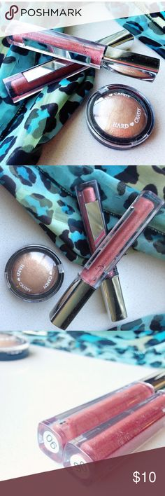 """3 PC makeup bundle +1 free new gift - GLOSS 4 PC LIP GLOSS BUNDLE- 2- SANTEE SHIMMER MIRROR LARGE LIP GLOSS ( made in USA) BRAND NEW From factory # 06 SILVER FINE GLITTER DEEP ROSE PINK + HARD CANDY """"SO BOLD"""" GOLDEN baked BLUSHER - HIGHLIGHTER compact <brand new> + comes w/ brand new free thank you gift ! USA buyers receive by USPS first class shipping. Worldwide buyers welcome but much agree to pay the actual postage to their address. This color is discontinued so it's a difficult to find…"""