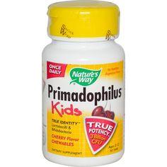 Nature's Way, Primadophilus, Kids, Cherry Flavor Chewables, Ages 2-12, 30 Tablets