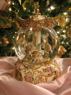 Wow, a Carousel horse, music box and snow globe all in one! Christmas Time, Christmas Bulbs, Xmas, Christmas Snow Globes, I Love Snow, Water Globes, Princess Aesthetic, Snowball, Trinket Boxes