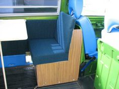 Blue green bus backseat.