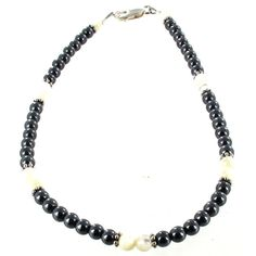 Womens Hematite (Hemalyke), Mother of Pearl and Sterling Silver Ladies Beaded Gemstone Anklet with Daisies ** Read more reviews of the product by visiting the link on the image.-It is an affiliate link to Amazon. #Anklets