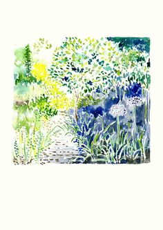 Landscape Art Print Lezli's Garden Flowering by FloraArtPrintShop
