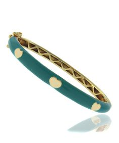 Turquoise & Gold Heart Bangle by Lily Nily on #zulily