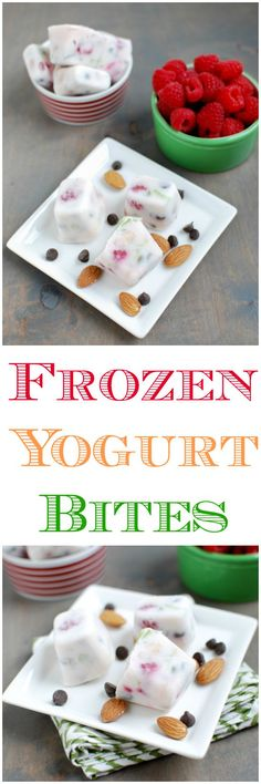 This recipe for Frozen Yogurt Bites is easy to customize and makes a perfect healthy snack or breakfast for both kids and adults! Just use non-dairy yogurt to make them vegan! Healthy Sweets, Healthy Dessert Recipes, Snack Recipes, Cooking Recipes, Healthy Snacks, Heathy Drinks, Smart Snacks, Healthy Kids, Paleo Recipes