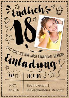 48 best 18. Geburtstag Einladungskarten images on Pinterest in 2018 ...