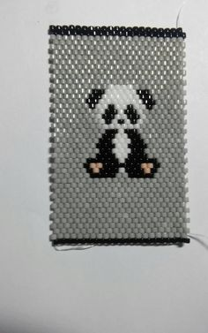 Items similar to Adorable Little Panda Pen Cover with Grey background. pen included on Etsy Beading Tutorials, Beading Patterns, Picture Banner, Motifs Perler, Beaded Banners, Peyote Stitch Patterns, Little Panda, Native American Crafts, Beaded Animals