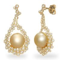 South Sea Golden Pearl Earrings with Diamonds in 14K Yellow Gold (9-10mm) [006-13892] $3,845.00