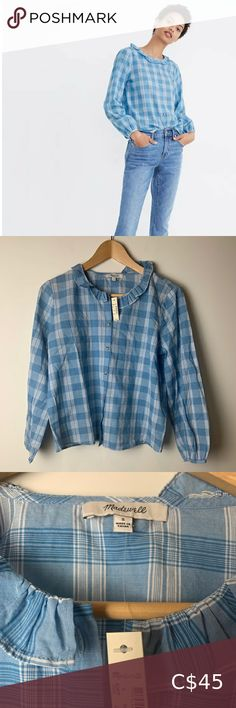 Madewell Ruffle-Neck Top in Colwell Plaid Small New with tags Madewell Ruffle-Neck Top in Colwell Plaid Size Small Ashby Plaid Ocean Wave Lightweight, long sleeve, plaid, cotton, ruffle collar, buttons down the front Style AJ979 Madewell Tops Blouses