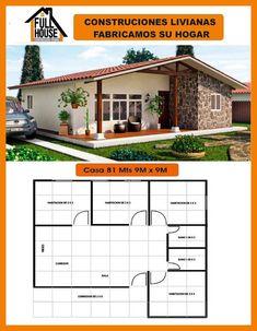 Full House Prefabricados My House Plans, Bedroom House Plans, Modern House Plans, Small House Plans, House Floor Plans, Village House Design, House Front Design, Design Your Dream House, Small House Design