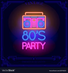 party with boombox cassette player neon light Vector Image , Neon Light Signs, Neon Signs, 80s Neon, Neon Words, 80s Design, 80s Theme, Lit Wallpaper, Neon Aesthetic, Music Pics