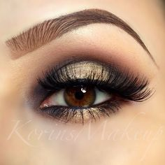 .@vegas_nay | Soft Smokey Glimmering Gold Goodness by @korinsmakeup for her Eyes she used #...