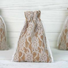 10 Pack Rustic Burlap and Floral Lace Drawstring Favor Bags - ChairCoverFactory Wedding Favor Bags, Unique Wedding Favors, Party Favor Bags, Wedding Party Favors, Gift Bags, Favor Boxes, Elegant Wedding, Wedding Reception, Wedding Decorations