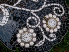 Every Moment is a Gift Mosaic Butterfly    Made with black and white china and old watches