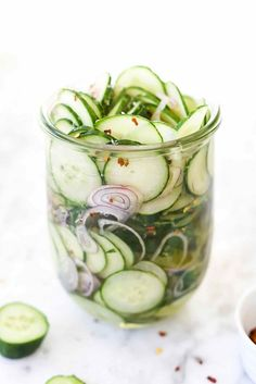 Sweet and Sour Thai Cucumber Quick Pickles from @foodiecrush