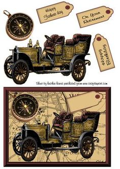 vintage car on map male card front on Craftsuprint designed by Heather Howes - super vintage car layered onto a map with compass - Now available for download!