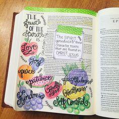 {The Fruit of the Spirit} Galatians 5:22 #fruitofthespirit #biblejournalingcommunity #illustratedfaith #biblejournaling #biblejournal by maryemison