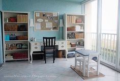 Could do a desk/bookcase design layout similar to this #office