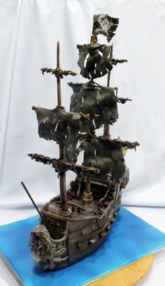 "Incredible Black Pearl pirate ship cake tweeted by @cakecentral Pirates of the Caribbean Black Pearl cake in ""Children's Birthday Cakes"""