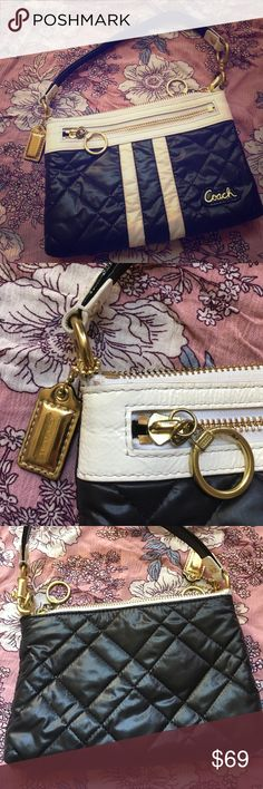 Coach Special Edition Mini Bag This is in great condition.  It's a super easy to clean nylon material and leather trim.  Gold accents and zippers.  It measures 8x5 inches. Coach Bags Mini Bags