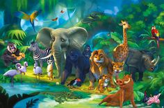 a7edaeed63b Amazon.com  Jungle animals   Safari wall decoration – Safari  Jungle mural  – XXL poster for child s room by GREAT ART (55 Inch x 39.4 Inch)  Toys    Games