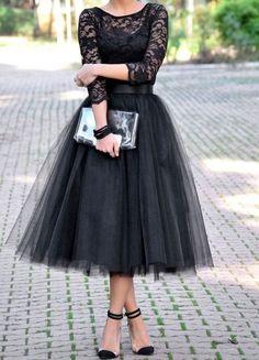 Long Sleeve Lace Black Prom Dress Tulle Prom Dress Mid Calf Prom Dress on Luulla