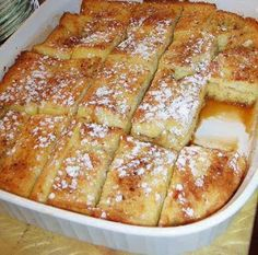 FRENCH TOAST BAKE 1/2 c melted butter 1 c brown sugar 1 loaf Texas toast 4 eggs 1 1/2 c milk 1 tsp vanilla Powdered sugar  1. Microwave butter & stir in brown sugar. 2. Spread mix on bottom of 9 x 13 pan. 3. Beat eggs, milk, & vanilla 4. Lay 1 layer of bread in pan 5. Spoon 1/2 egg mix on bread 6. Add 2nd layer of bread 7. Spoon remaining egg mixture 8. Cover & chill in fridge overnight 9. Bake at 350 for 45 mins (covered for the first 30 mins) 10. Sprinkle with powdered sugar & serve with…