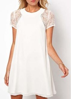 Princess Style White Plus Size Mini Dress with Lace Sleeve with cheap wholesale price, buy Princess Style White Plus Size Mini Dress with Lace Sleeve at wholesaleitonline.com !