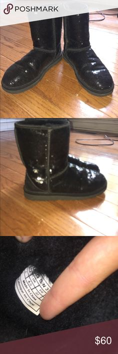 Black Short Sequin Ugg boots Fairly worn but still good condition. UGG Shoes Winter & Rain Boots