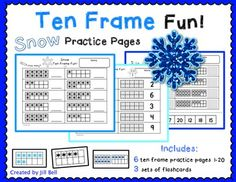 This is a set of 6 ten frame worksheets. Students will practice identifying and showing numbers 1-20 using ten frames. The snowflake theme makes it perfect for winter!