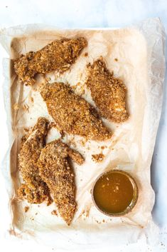 Baked Chicken Tenders with Peachy Dipping Sauce (Paleo AIP nut-free egg-free dairy-free) Crispy Baked Chicken, Chicken Tender Recipes, Breaded Chicken, Clean Chicken, Chicken Meal Prep, Buttermilk Chicken Marinade, Paleo Chicken Tenders, Dairy Free Recipes, Paleo Recipes