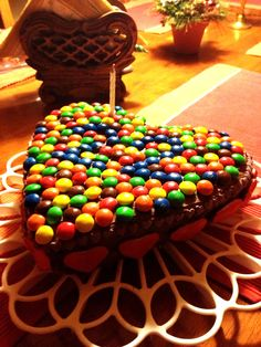 Heart shaped m&m cake made by me for my love's birthday!