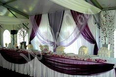 Purple wedding decor / withjoyinc.com