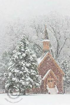 Christmas Wonderland - Yosemite Valley Chapel in Snow Storm (by Jim Goldstein) Reminds me so much of my hometown church at Christmas.