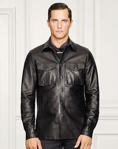 ed68250f Grafton Bonded Leather Shirt - Purple Label Leather & Suede - RalphLauren .com